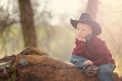 Young boy in cowboy hat. Portrait of young boy in cowboy hat on log in sunny countryside Royalty Free Stock Photos
