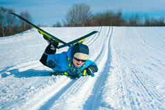 Young boy with cross-country skis Stock Images