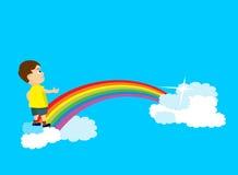 Young boy cross rainbow bridge Stock Photos