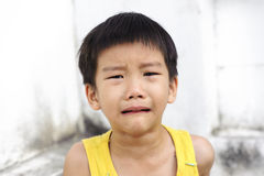 Young boy cry and tear Royalty Free Stock Photography