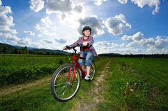 Young boy cycling Royalty Free Stock Photo