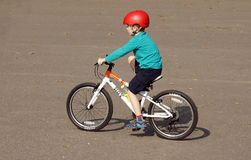 Young boy cycling in park Royalty Free Stock Image