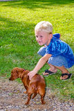 Young Boy With Dachshound. A boy playing with his dog stock photo