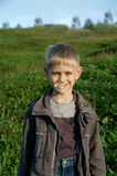 Young boy with daisy. Smiling young boy with daisy in mouse Royalty Free Stock Photo