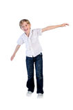 Young boy dance. On white background stock images