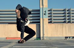 Young boy dancing breakdance on the street Royalty Free Stock Photos