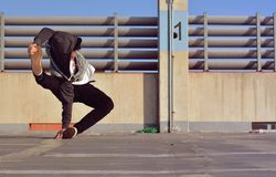 Young boy dancing breakdance on the street Stock Photo