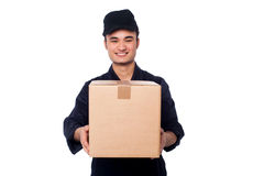 Young boy delivering parcel safely Stock Image