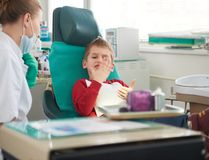 Young boy in a dental surgery Royalty Free Stock Images