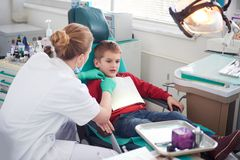 Young boy in a dental surgery Royalty Free Stock Photography