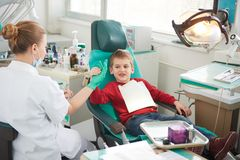 Young boy in a dental surgery Royalty Free Stock Photo