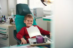 Young boy in a dental surgery Royalty Free Stock Image