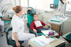 Young boy in a dental surgery Stock Images