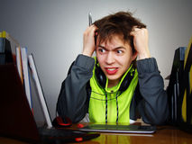 Young boy designer is angry Stock Photos