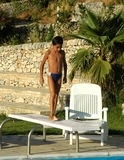 Young boy on diving board Royalty Free Stock Photography