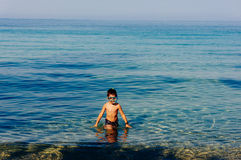 Young boy with diving mask in water Royalty Free Stock Photos