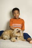 Young Boy with Dog stock photos