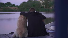 Young boy and dog outdoors stock video footage