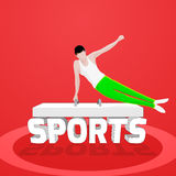 Young Boy doing Gymnastics for Sports concept. Illustration of a young boy performing Artistic Gymnastics and Stylish 3D Text Sports on shiny background, Can be Stock Photos