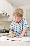 Young boy doing homework in a kitchen Royalty Free Stock Photography