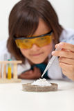 Young boy doing a simple chemical experiment in elementary schoo Stock Photos