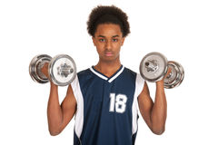 Young boy doing workout Stock Photo