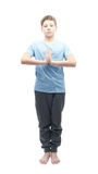 Young boy doing yoga Royalty Free Stock Images