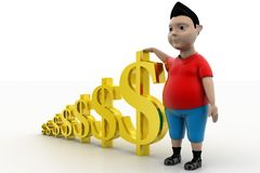 Young Boy and Dollar Symbols Royalty Free Stock Photography