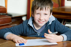 Young boy draws Royalty Free Stock Image
