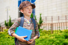 Young boy dreaming about school stock photos