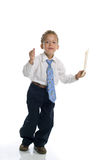 Young boy dressed as businessman holds envelope. Isolated on white royalty free stock photos