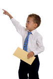 Young boy dressed as businessman holds envelope. Isolated on white Stock Photos