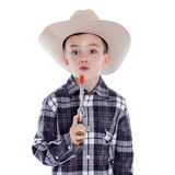 Young boy dressed as a cowboy Royalty Free Stock Photos