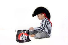 Young boy dressed as pirate Stock Photo