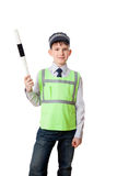 Young boy dressed as policeman with staff. Isolated on white background stock image