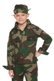 Young boy dressed in camouflage Stock Photo