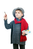 A young boy dressed up in a vintage painter Stock Photography