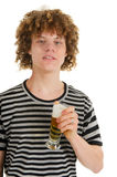 Young boy is drinking beer Royalty Free Stock Image