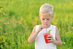 Young boy drinking a glass of red fresh juice watermelon. Summer time. Healthy lifestyle Royalty Free Stock Photo