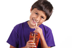 Young boy drinking Stock Photo