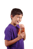 Young boy drinking Stock Photos