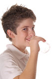 Young boy drinking water vertical Stock Image