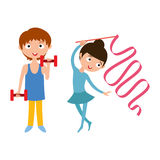 Young boy with dumbbells and flexibility gymnastic girl vector. Royalty Free Stock Image