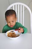 Young boy eating. Young child sit eating at dinner table with spoon in hand Stock Photos