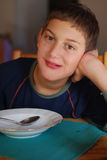 Young boy eating Stock Photo