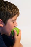 Young boy eating an apple. Young boy eating a green apple. My models (and myself) love to see our images in action. When possible, please let us know how our stock photos