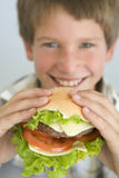 Young boy eating cheeseburger smiling Stock Photography
