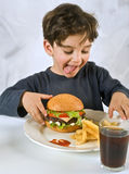 Young boy eating chessburger. Young boy eating cheeseburger with french fries and coke Stock Images