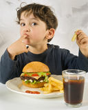 Young boy eating chessburger Royalty Free Stock Photo