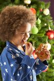 Young Boy Eating Cookie In Front Of Christmas Tree Royalty Free Stock Photos